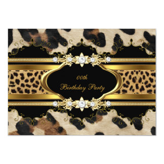 Elegant Birthday Party Leopard Gold Animal 4.5x6.25 Paper Invitation Card