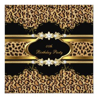 Elegant Birthday Party Leopard Gold Cheetah Card
