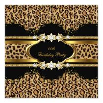 Elegant Birthday Party Leopard Gold Cheetah Invitation