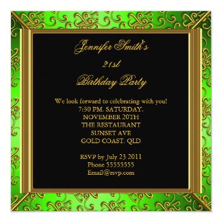 Lime Green Gold Birthday Party Invitations Announcements Zazzle - Birthday invitation gold coast