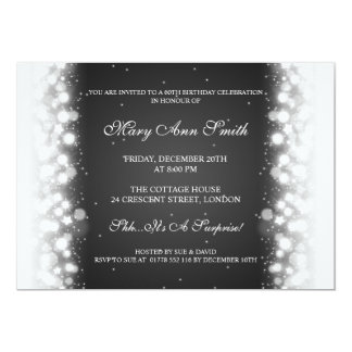 Elegant Birthday Party Magic Sparkle Black Card