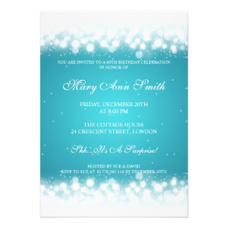 Elegant Birthday Party Magic Sparkle Turquoise Cards