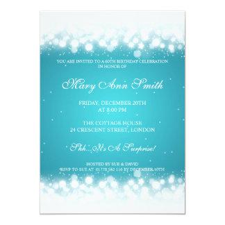 Elegant Birthday Party Magic Sparkle Turquoise 5x7 Paper Invitation Card