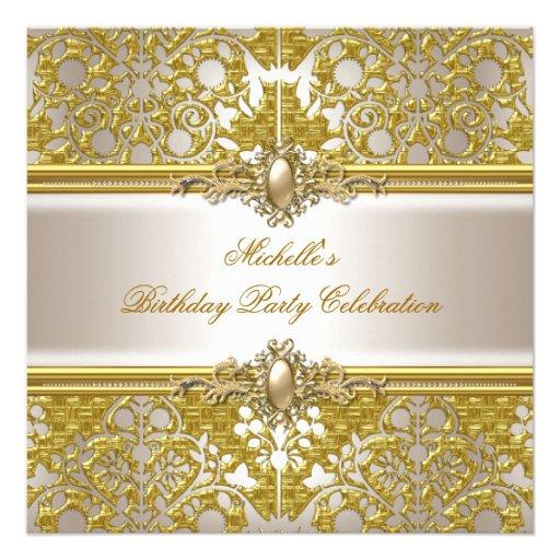 Elegant Birthday Party Metallic Gold Damask Gold Personalized Invitations