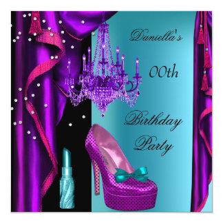 Elegant Birthday Party Purple Teal Black Lipstick Custom Announcement