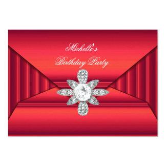 Elegant Birthday Party Red Jewel Purse Look Card