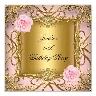Elegant Birthday Party Rose Pink Gold Card