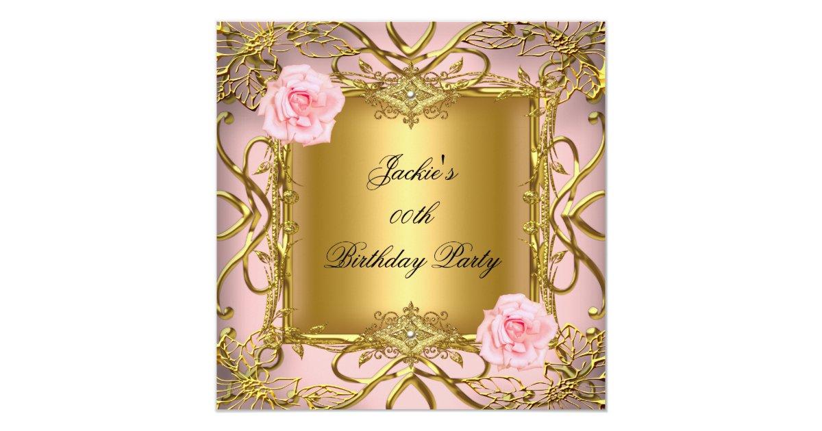Elegant Birthday Party Rose Pink Gold Card  Zazzle