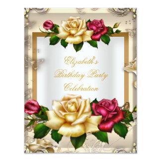 Elegant Birthday Party Roses White Gold Red Cream Card