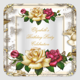 Elegant Birthday Party Roses White Gold Red Cream Square Sticker