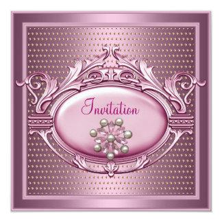 Elegant  Birthday Party Satin Pink Pearl Jewel Card