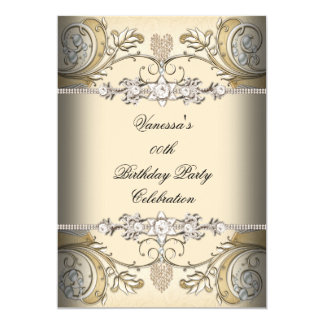Elegant Birthday Party Sepia Coffee Gold 5x7 Paper Invitation Card