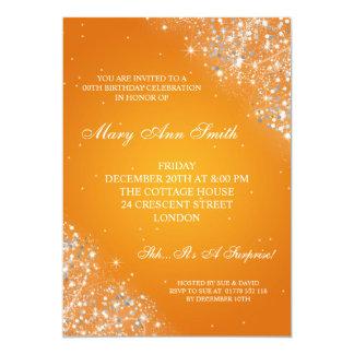 Elegant Birthday Party Sparkling Glitter Orange Card