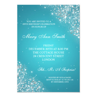 Elegant Birthday Party Sparkling Glitter Turquoise Card