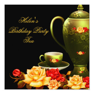 Elegant Birthday Party Tea Green Black Red Gold Card