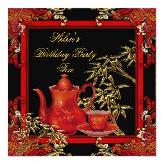 Elegant Birthday Party Tea Red Gold Bamboo Custom Announcements