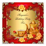 Elegant Birthday Party Tea Red Gold Roses Card