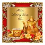 Elegant Birthday Party Tea Red Gold Roses Invitation