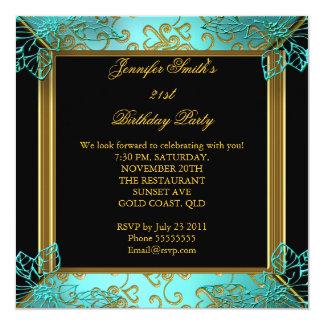 Elegant Birthday Party Teal Black Gold Damask Invitation