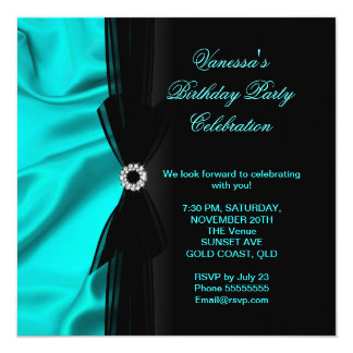 Elegant Birthday Party Teal Blue Silk Black Card