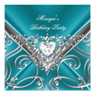 Elegant Birthday Party Teal Blue Silver Diamond Invitation