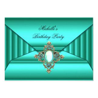 Elegant Birthday Party Teal Jewel Purse Look Card