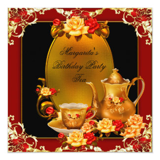 Elegant Birthday Party Vintage Tea Red Gold Roses Card
