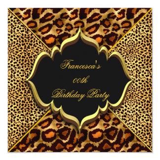 Elegant Birthday Party Wild Leopard Animal Gold Card