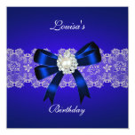 Elegant Birthday Royal Blue Pearl White Lace Personalized Announcements