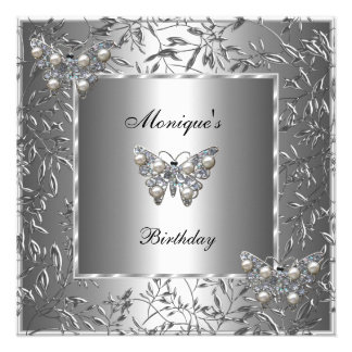 Elegant Birthday Silver Floral Butterfly Jewel 2a Announcement