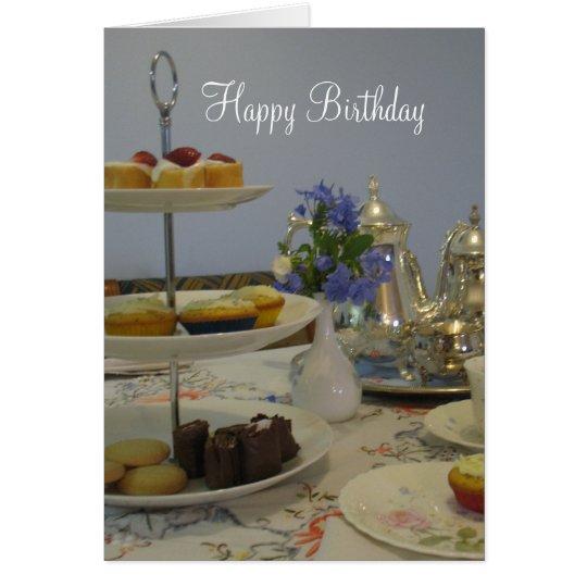 elegant birthday tea and cupcake card