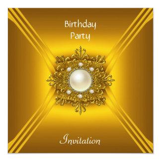 Elegant Birthday Yellow Gold Pearl Jewel Card
