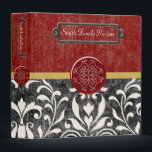 """Elegant Bistro Recipe Binder<br><div class=""""desc"""">Preserve your family recipes in this elegant Bistro recipe binder. Beautiful red wine background with a yellow ribbon mixed with a black &amp; white Damask. A truly elegant combination for any kitchen. Customize with your name on front and spine.</div>"""