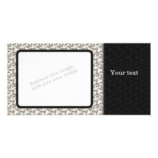 Elegant black and beige floral design card