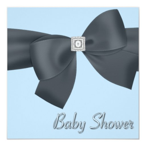 Elegant Black and Blue Baby Shower Announcements