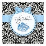 Elegant Black and Blue Damask Baby Shower Custom Invite