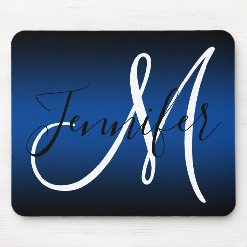 Elegant Black and Blue Ombre Monogram Mouse Pad