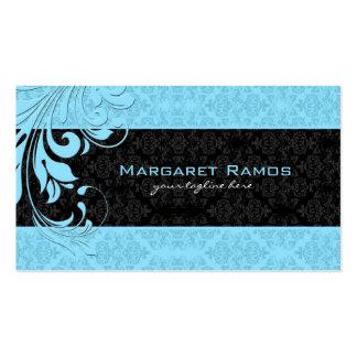 Elegant Black And Blue Vintage Floral Damasks Business Card