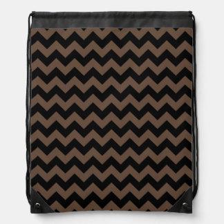 Elegant Black and Brown Chevron Pattern Drawstring Backpack