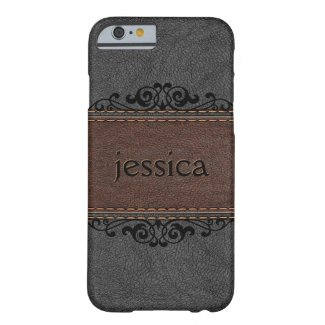 Elegant Black And Brown Vintage Leather Barely There iPhone 6 Case