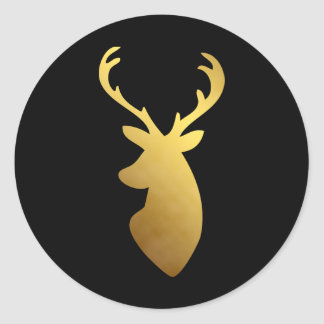 Elegant Black and Faux Gold Foil Deer Head Classic Round Sticker