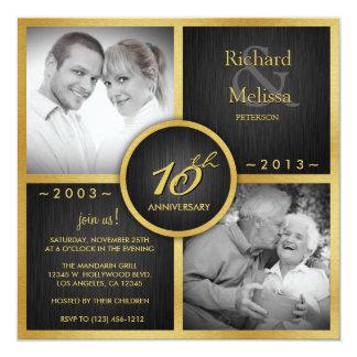 "Elegant Black and Gold 10th Wedding Anniversary 5.25"" Square Invitation Card"