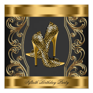 Elegant Black and Gold 50th Birthday Party Card