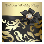 Elegant Black and Gold 50th Birthday Party Custom Announcement