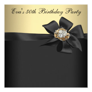 "Elegant Black and Gold 50th Birthday Party 5.25"" Square Invitation Card"