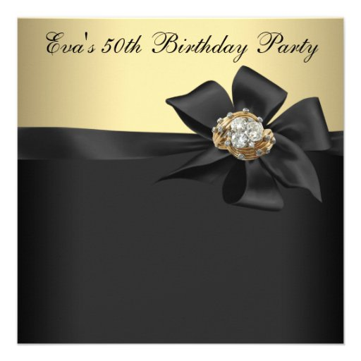 elegant black and gold 50th birthday party 5 25x5 25 square paper invitation card
