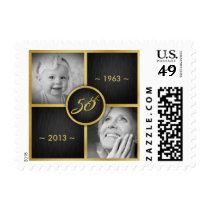 Elegant Black and Gold 50th Birthday Postage