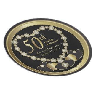 Elegant Black and Gold 50th Golden Anniversary Dinner Plate