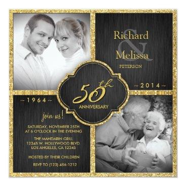 Elegant Black and Gold 50th Wedding Anniversary Custom Invitation