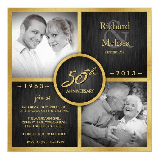 Elegant Black and Gold 50th Wedding Anniversary Custom Announcements